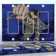 DIY Do It Yourself Home Decor - Easy to apply wall plate wraps | Super Fighter Flying and attacking man wallplate skin sticker for 3 Gang Decora LightSwitch | On SALE now only $5.95