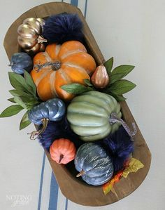Cozy Fall Farmhouse Decor in Navy and Orange - the hottest color of the year is navy Here s how to incorporate this cozy color in your fall decor Blue Fall Decor, Fall Home Decor, Autumn Home, Thanksgiving Decorations, Seasonal Decor, Halloween Decorations, Holiday Decor, Harvest Decorations, Thanksgiving Table