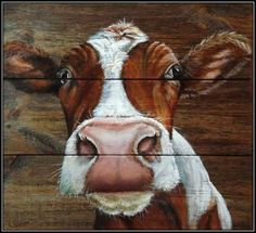 Cow Paintings On Canvas, Animal Paintings, Cow Pictures, Pictures To Paint, Pallet Painting, Pallet Art, Cartoon Cow, Farm Art, Cow Art