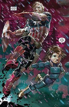 """Captain America & Son"", by John Romita Jr Captain America Film, Captain America Super Soldier, Marvel Comic Books, Comic Books Art, Marvel Comics, Marvel Dc, Comic Book Artists, Comic Artist, Uncanny Avengers"