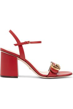Heel measures approximately 75mm/ 3 inches Red leather Buckle-fastening ankle strap Made in Italy