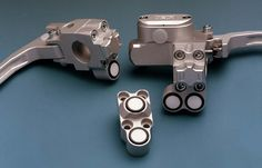 ISR 73-101 switch clamps. Fit all of the ISR master cylinders the switch clamps integrate switching and signalling functions into a unique and clean housing. ISR 21-012 front brake racing master cylinder. CNC machine from sold billet aluminum, infinitely adjustable leverage ratio, adjustable reach, modular construction allows fast repairs. ISR brakes from Sweden are extremely high quality, have a unique design, and deliver unbeatable performance.