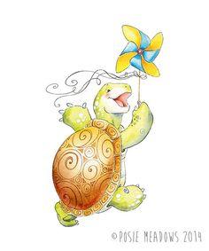 A Turtle and His Pinwheel - Emmitt the Turtle Watercolor Giclee Print, Original Artwork, Children's illustration, Nursery Wall Art