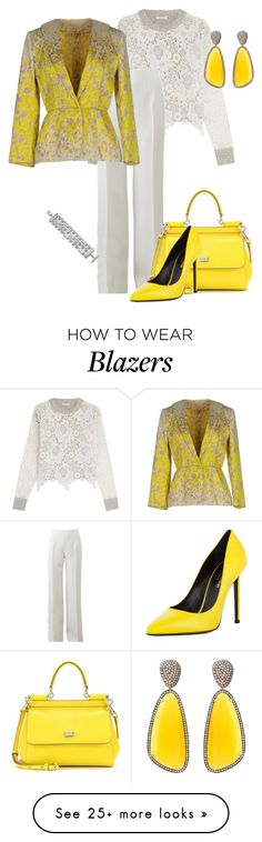 """Floral Blazer"" by eva-kouliaridou on Polyvore featuring See by Chloé, Michael Kors, Giambattista Valli, Dolce&Gabbana, Yves Saint Laurent, Christina Debs and Monica Rich Kosann"