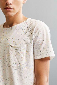 Splatter Dye Long Loose Scoopneck Tee - Urban Outfitters