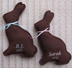 Felt Chocolate Easter Bunnies