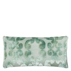 Iridato Pale Aqua Cushion - A glamorous velvet cushion with a contemporary scroll damask in elegant pale aqua