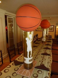 Basketball centerpieces your dream it we create it sports th Sports Centerpieces, Banquet Centerpieces, Graduation Centerpiece, Banquet Decorations, School Decorations, Centerpiece Ideas, Basketball Birthday Parties, Grad Parties, Theme Sport