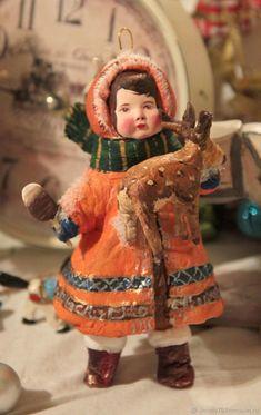Коллекционные куклы ручной работы. Ярмарка Мастеров - ручная работа. Купить Эскимосская девочка Анука с олененком. Ватная игрушка. Handmade.