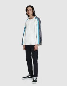 f02c8f7a9 Dima Leu   Velvet and Satin Stripe T-Shirt in Navy Ocean Blue