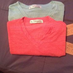 NWT Vneck T shirt bundle Red and turquoise V-neck t-shirt bundle. Lighter material and longer length. Tops Tees - Short Sleeve