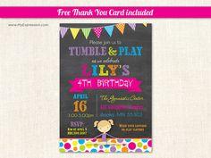 Gymnastics Girl Chalkboard Birthday Party Invitations by MyExpressionInvites, $15.00