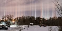 A Canadian amateur photographer was able to capture a rare display of light pillars above her home in Moncton, New Brunswick. Residential Garage Doors, New Brunswick, Property Management, Calgary, Plumbing, Natural Light, News, Car, Nature