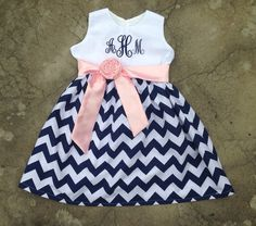 Girls Chevron Dress Monogrammed Navy Blue and White Chevron with light pink Satin Sash Custom Boutique
