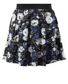 Green Pattern (Green) Black Floral Print Skater Skirt  | 325379639 | New Look