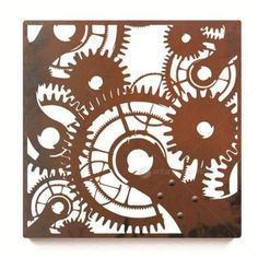 Laser Cut Wall Art - Cogs - Square from Earth Homewares