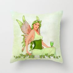 Absinthe the Green Fairy Throw Pillow by Spice - $20.00