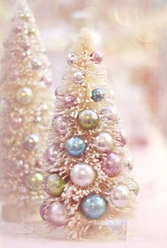 Christmas photography, vintage bottle brush trees, holiday decor, pastel photograph. $30.00, via Etsy.