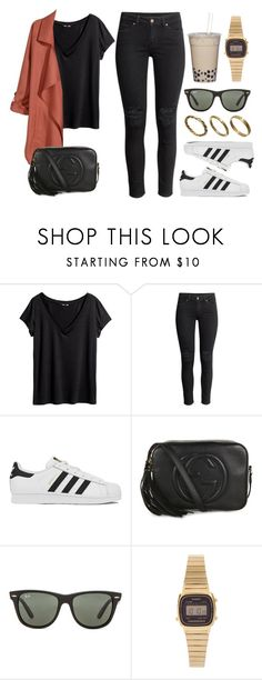 """""""Sin título #12523"""" by vany-alvarado ❤ liked on Polyvore featuring H&M, adidas, Gucci, Ray-Ban, Casio and Made"""