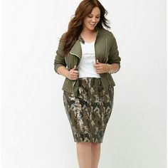 Lane bryant sequin camo pencil skirt 24 3x POLYESTER / SPANDEX MACHINE WASH IMPORTED The ultimate in military glam, this sequin camo pencil skirt is the hero of your closet. Faux leather waistband with zipper back and hook & eye closure. Fully lined. Lane Bryant Skirts Pencil