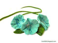Wet felted flower belt or necklace fiber art wool by love4felt