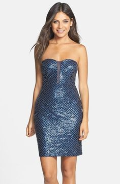 Trixxi Sequin Strapless Dress (Juniors) available at #Nordstrom