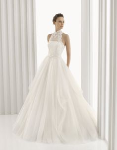 Romantic full a-line Rosa Clara bridal gown with high neck lace halter neckline
