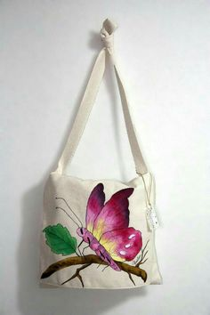 Painted Bags, Hand Painted, Backdrop Design, Color Magic, Jute Bags, Flower Tattoo Designs, Fabric Bags, Butterfly Design, Quilted Bag