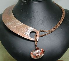Copper and Stone Necklace Based on Vintage Style. $45.00, Silver Seahorse Design via Etsy.