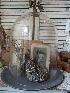 Glass dome display with base large clear bell jar style showcase with gray zinc painted wood base French Nordic farmhouse anita spero design Glass Bell Jar, The Bell Jar, Glass Jars, Bell Jars, Glass Votive, Glass Dome Display, Glass Domes, Glass Terrarium Containers, Cloche Decor