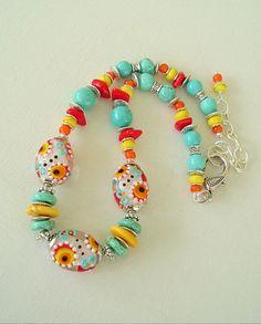 Boho Necklace Turquoise Jewelry Colorful Jewelry by BohoStyleMe Idea for my dotted egg beads - also use those wavy Dakota Stone beads