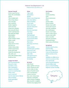 The Peaceful Mom Natural Anti-Depressant List. Try one activity a day to help overcome depression. (not intended to replace medical advice!)