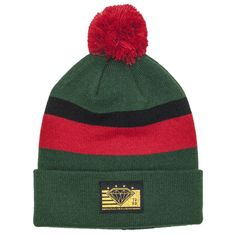 World Class Puff Beanie in Green/Black/Red