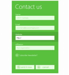Metro UI Style Contact Form PSD