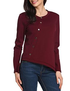 8e43503115 Zeagoo Womens Casual Long Sleeve Knitted Button Blouse TopWine RedL >>>  Amazon most trusted