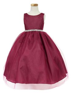 Girls Dress Style D754 - WINE Sleeveless Satin and Organza Dress with Embellished Rhinestone Waist  Classic beauty with extra flare. We love this style because it can be worn from event to event. So much versatility! This is a style that is timeless and can be passed from one generation to the next.  http://www.flowergirldressforless.com/mm5/merchant.mvc?Screen=PROD&Product_Code=CA_D754WN&Store_Code=Flower-Girl&Category_Code=New