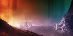 Sci-Fi_landscape by ~noistromo on deviantART    Reminds me of a old SF book cover. I love the color gradients.