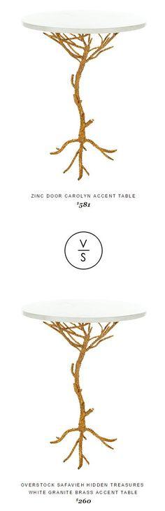 Zinc Door Carolyn Accent Table $581 Vs @overstock Safavieh Hidden Treasures  White Granite Brass Accent Table $260