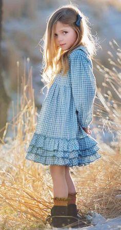 Greta in winter blue check - Girls clothes - Baby Girl Dress Patterns, Baby Girl Dresses, Baby Dress, Dress For Girl Child, Dresses Dresses, Little Girl Outfits, Little Girl Fashion, Kids Outfits, Stylish Kids Fashion