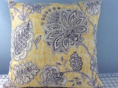 Pillow Cover-Yellows and Browns Floral Print Fabric-Tropical Pillow-Coastal Pillow-Beach Pillow-Nautical Pillow-Floral Pillow-Yellow Pillow by KelleysBeachDecor on Etsy