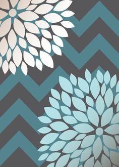 Flower Bursts with Chevron/Stripes Set (3) 5x7, 8x10 OR 11x14 // Charcoal Grey, Dark Teal, Light Aqua, Brown Tint // Modern Home Decor