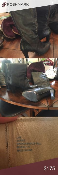 Marissa from Frye black zip tall boot Like new only worn twice Marissa tall black zip boot from Frye in size 8.5. I am willing to trade for a equal condition Frye tall black boot with small or no heel. Excellent condition. Beautiful boot! Frye Shoes Heeled Boots