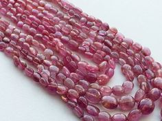 Pink Tourmaline Beads Pink Tourmaline Oval Beads by gemsforjewels