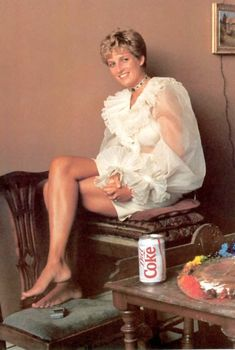 Diana sitting for a portrait. Love the Diet Coke can!