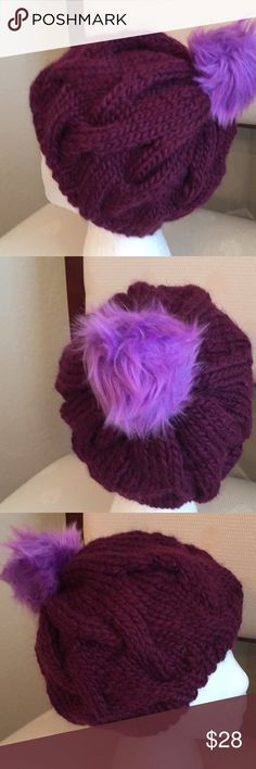 Cable knit slouchy hat with pompon Excellent accessory for winter violetsknitwear Accessories Hats
