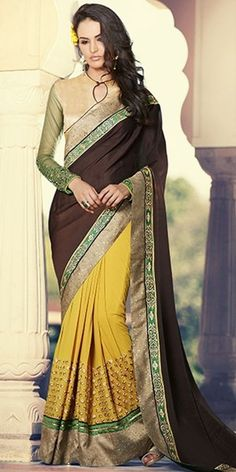 Dynamic Yellow And Brown Georgette Saree With Blouse.