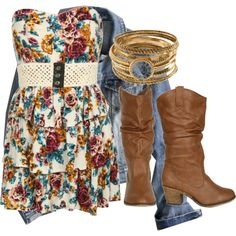 I actually bought an outfit just like this. Different colors in the dress and my boots aren't as cowboyish, but still loving it.