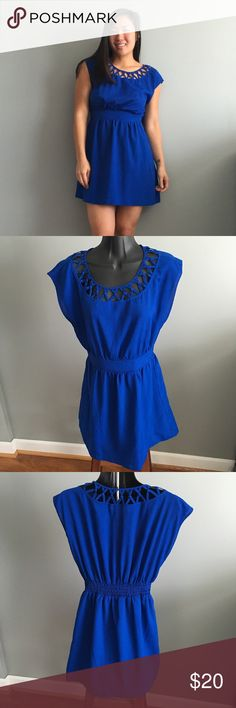 Forever 21 Blue Cutout Neck Dress S Gently worn condition. No known piling, tears or stains.  Comes from a smoke-free, but not pet-free home. ➡️ Offers welcomed.  No trades. No holds.  Fast shipping!  Saving up for my wedding, so considering all reasonable offers! Forever 21 Dresses Mini