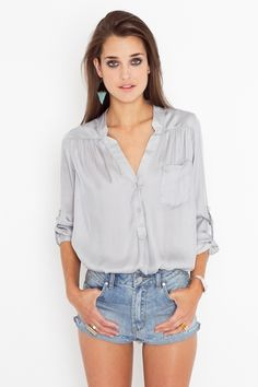 Silver blouse oversized and flowy