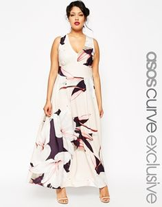 ASOS CURVE SALON Maxi Dress in Large Lily Print